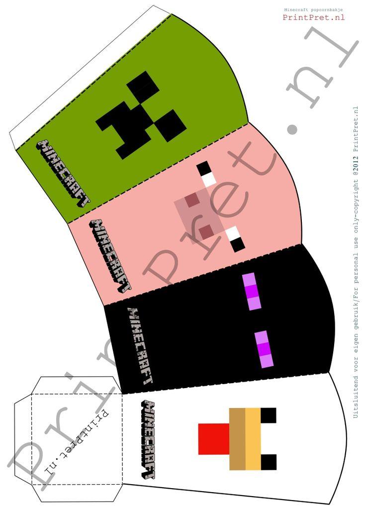 Minecraft traktatie bakje http://printpret.nl/Minecraft%20feestpakket