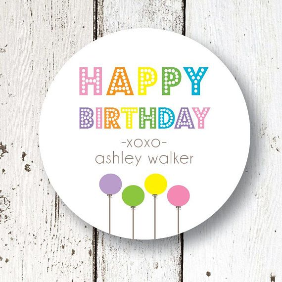 Birthday Gift Sticker I Balloons Multi Colors L