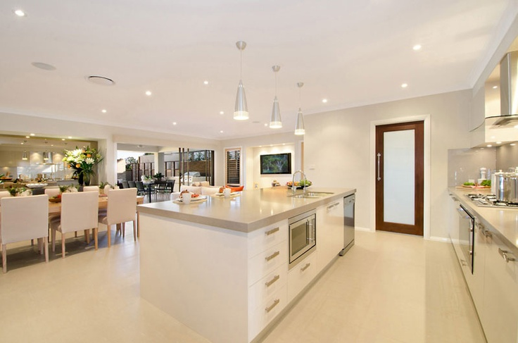 Open plan living. Kitchen from the Santorini Collection by McDonald Jones Homes #kitchens #mcdonald jones #australia #design #luxuryhome #architecture