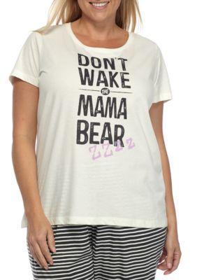HUE Off White Plus Size Tee and Printed Pant Pajama Set
