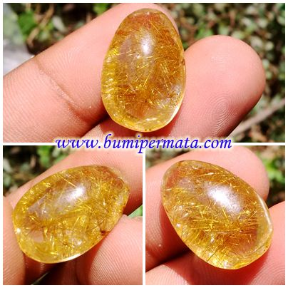 CM066 Batu Permata Natural Rutilated Quartz - Natural Rambut