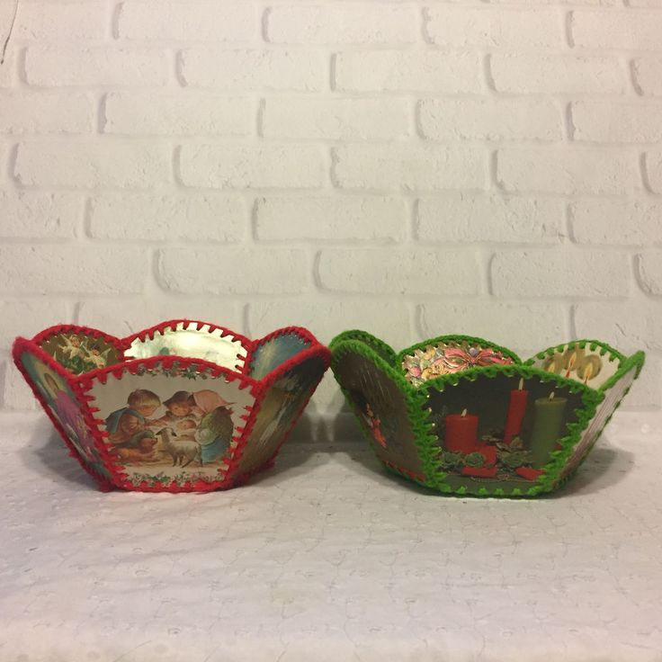 Vintage Christmas Card Basket Handmade Crocheted 6 Sided Pair of 2