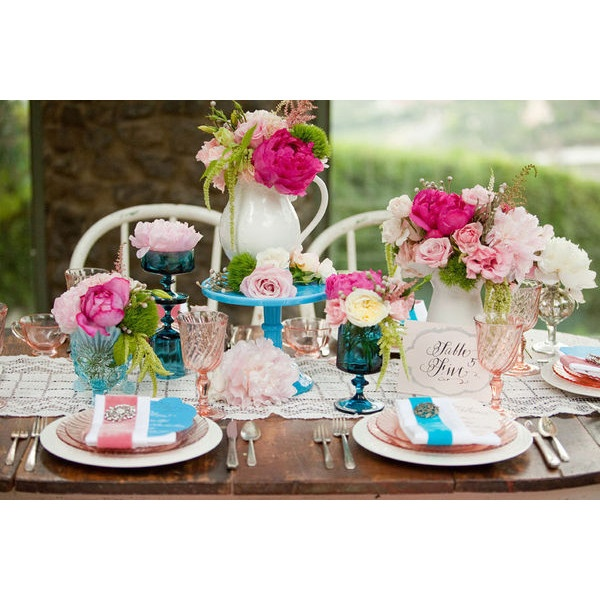 Pink and Teal Wedding Flower Centerpieces Wedding Flowers