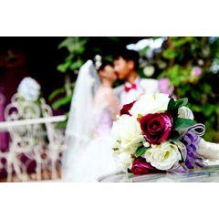 [フリー画像素材] 花束 / ブーケ, 人物, カップル / 夫婦 / 恋人, 二人, 結婚式, ウエディングドレス, タキシード…