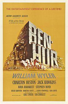 Description de l'image Ben hur 1959 poster.jpg. Ben-Hur est un film américain de William Wyler sorti en 1959.  Adapté du roman Ben-Hur: A Tale of the Christ, de Lewis Wallace paru en 1880, ce péplum épique dont l'action se situe au Ier siècle, est un monument de l'histoire du cinéma par l'ampleur de sa mise en scène et des séquences à très grand spectacle comme la bataille navale, la course de chars, et la crucifixion du Christ. Il demeure également l'un des films les plus primés avec onze…