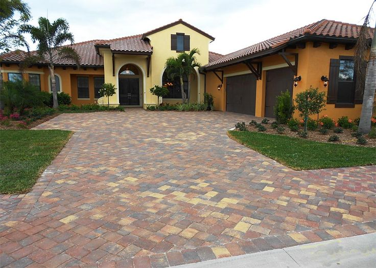 Olde Towne 6x9 Autumn Blend Brick Paver Driveway Installed