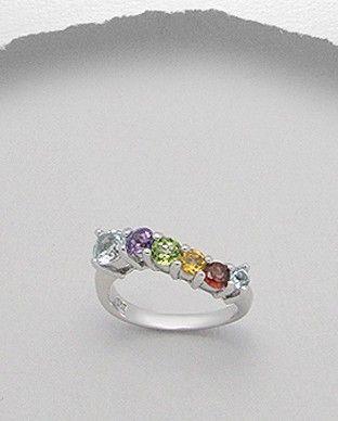 Inel argint si cristale pretioase