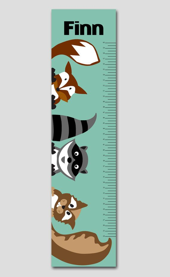 Personalized Forest Animals Growth Chart- Vinyl  Print, Growth Charts for Boys, Nursery and Children Decor