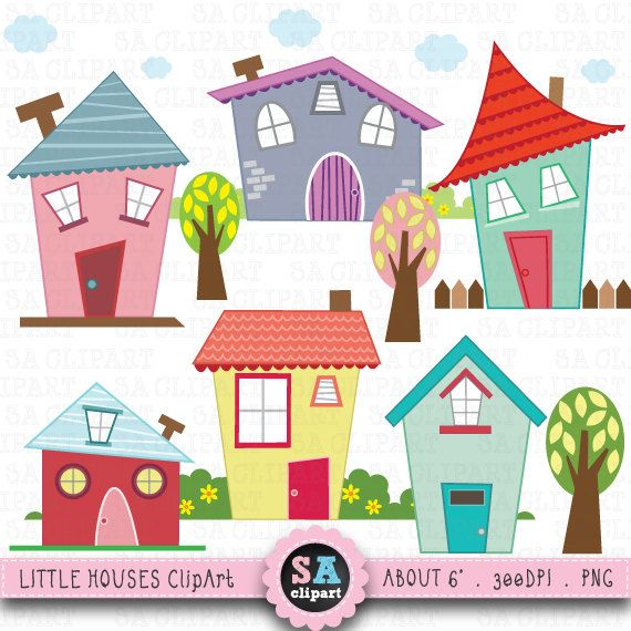 You will receive : - 16 little houses images - about 6 wide at full size - 300 dpi High Resolution PNG File  • Graphics as shown • Saved in PNG format