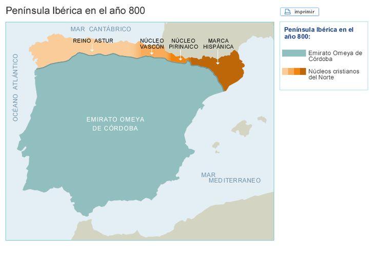 La Península en el año 800