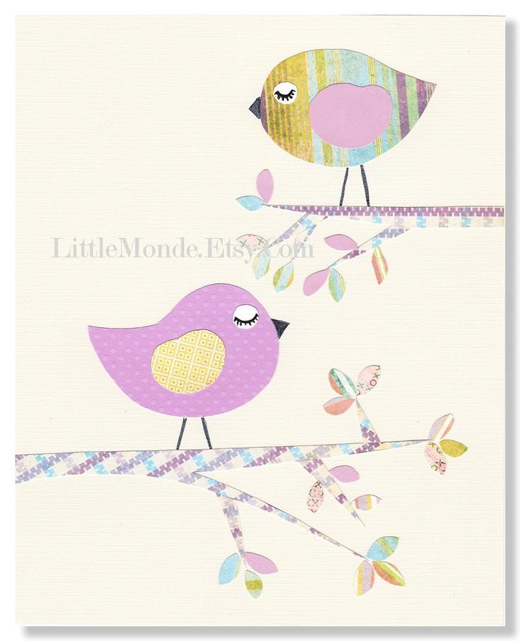 "The Purple Tree 8x10"" Nursery Art Personalized Nursery Print Baby Girl Room Decor Baby Decor Violet Pastels Illustration"
