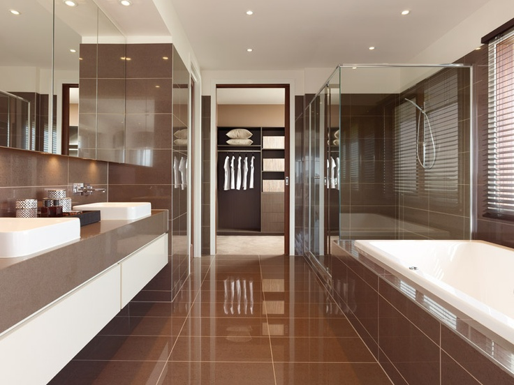 Walk through ensuite to robe modern bedroom ensuite for Closet bathroom suites