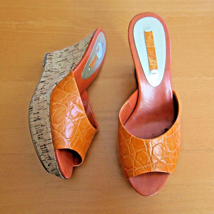 Women's Peep Toe Cork High Wedge Mules Slides Sandals Orange Leather 9 West  #9West #PlatformsWedges