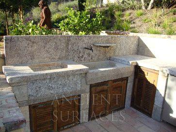 French Country Limestone Sink outdoor BBQ Kitchen Sink 'Al Fresco' mediterranean-outdoor-grills
