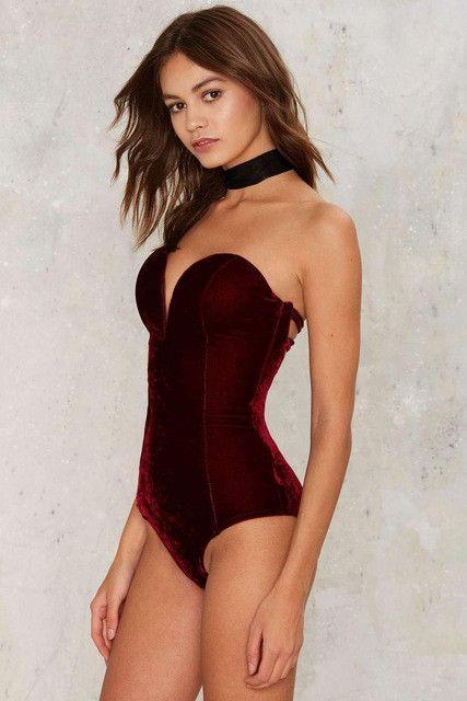 Red Slip Style Sexy Bodysuit Women V Neck Lace Up Blouse Velvet Playsuit Velour Jumpsuit feminino vestido Romper roupas monos E