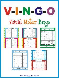 Visual Motor Bingo.  Helps with visual motor, visual perceptual and fine motor skills.