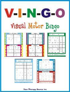 Visual Motor Bingo. Helps with visual motor, visual perceptual and fine motor skills.