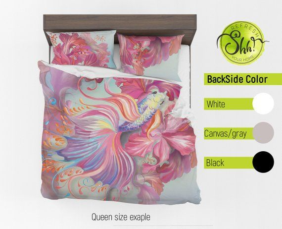 Fish Bedding Set Asian Duvet Cover Flower Comforter Watercolor