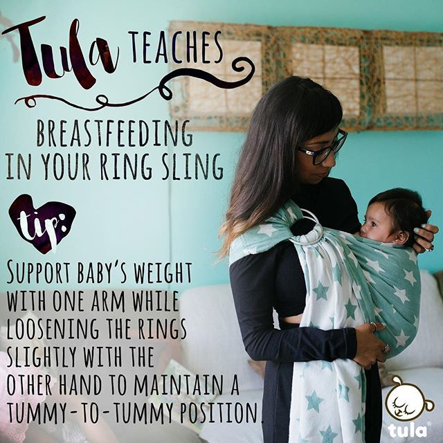 #tulateaches tip: If you are breastfeeding in a Tula ring sling, we recommend gently lifting and supporting your baby's weight with one arm while lifting the top ring to loosen slightly with the other hand. Maintain the tummy-to-tummy position and keep knees higher than bottom in keep a deep M-position throughout the time that you are feeding in the ring sling. You will also likely need to keep one hand on baby while in this lower position. Please remember to re-position baby.