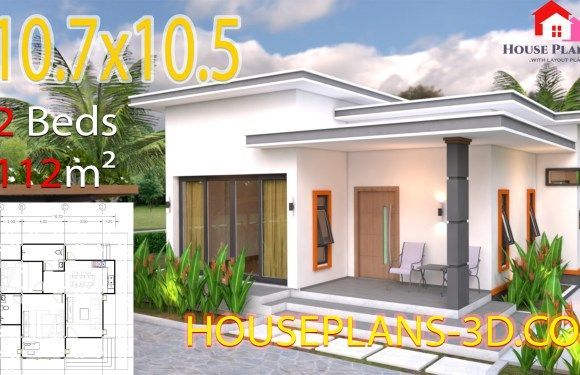 House Plans 10 7 10 5 With 2 Bedrooms Flat Roof House Plans Small House Design Plans Small House Design