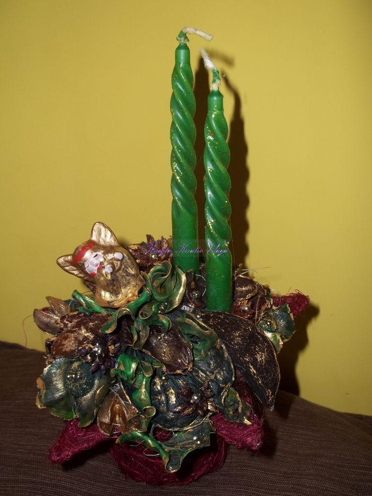 Angyalkás karácsonyi asztali dísz