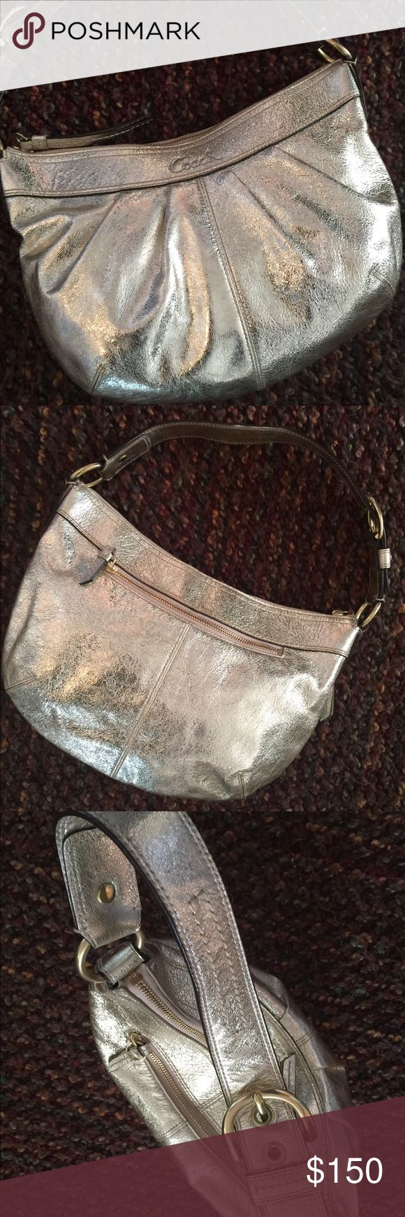 Coach Hobo handbag (gently loved) Soho pleated metallic hobo handbag in platinum gold. Perfect for any time to accent any outfit Coach Bags Shoulder Bags