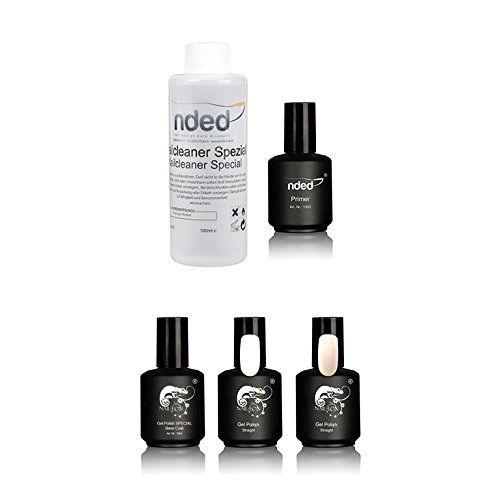 Kit per French manicure, 3 smalti semi permanenti UV o LED bianco e rosa, base, primer e detergente