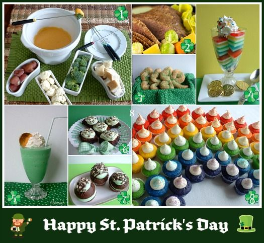 A bunch of St. Patrick's Day inspired recipes for appetizers, main dishes, snacks, drinks, and desserts.