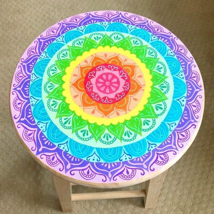 painted wood round ornament rainbow white