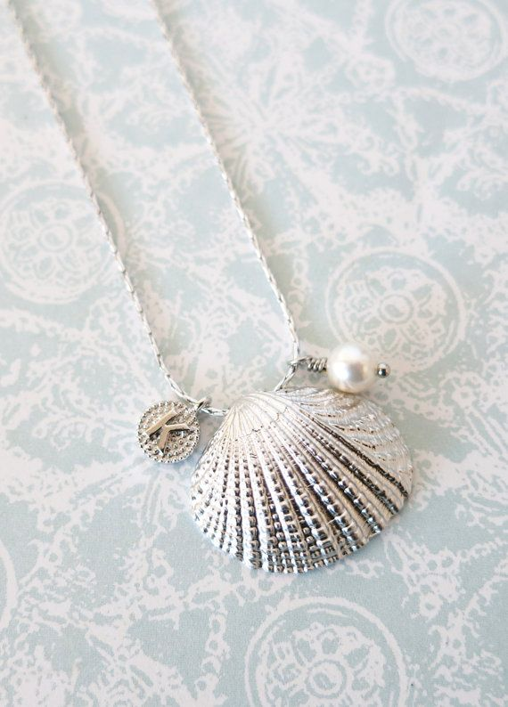Cockle Shell - Silver cockle Sea Shell necklace, personalised gift for her, sea lover, beach wedding party, bridesmaid necklace, Oceanic, by GlitzAndLove, www.glitzandlove.com