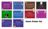 Free Genre posters on TpT via Classroom Freebies
