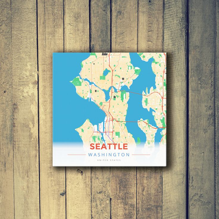 Seattle Map Redmond%0A Gallery Wrapped Map Canvas of Seattle Washington  Modern Colorful  Seattle  Map Art
