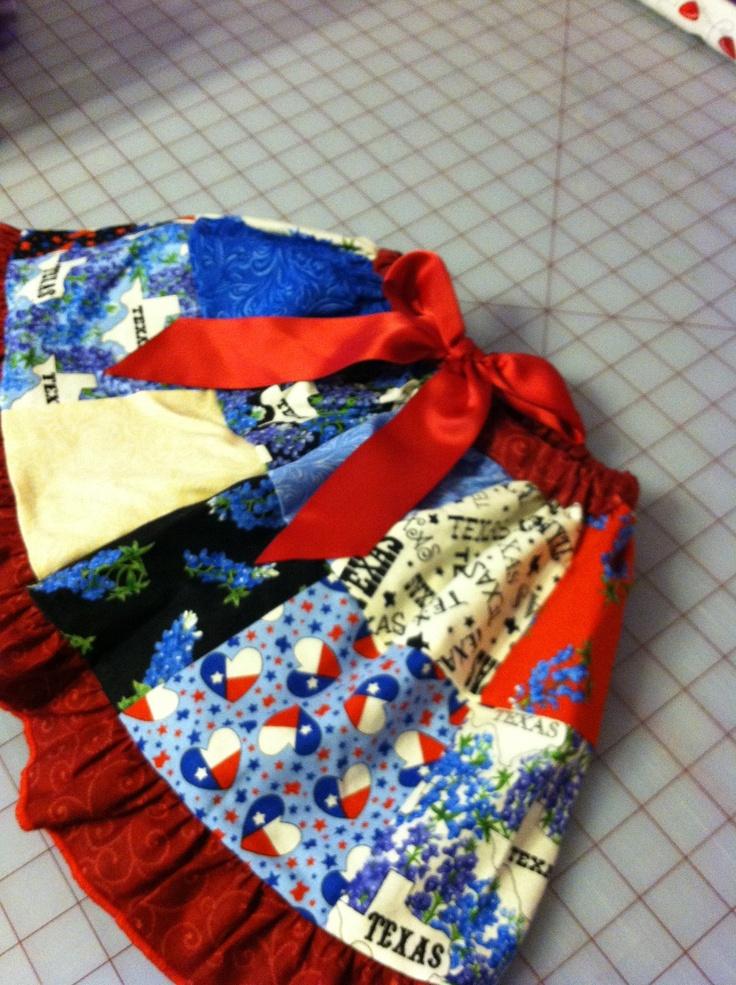 Limited edition Texas fabric elastic waist skirt