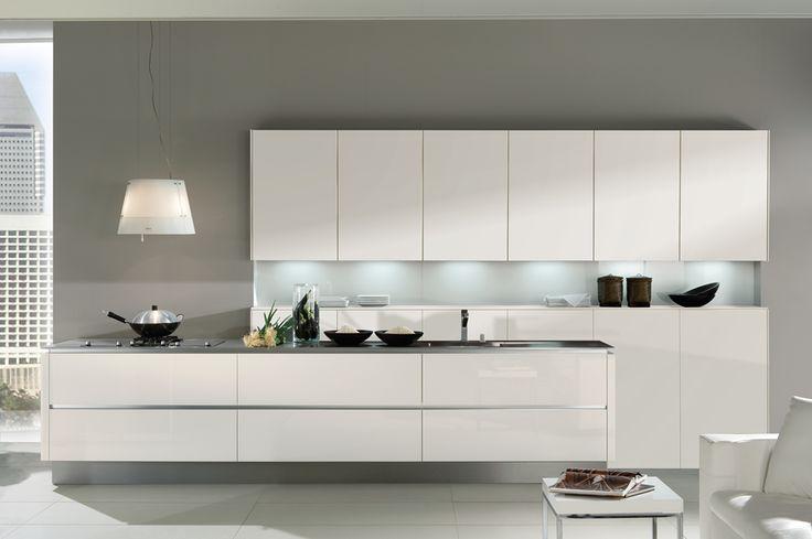Sleek gloss white linear kitchen