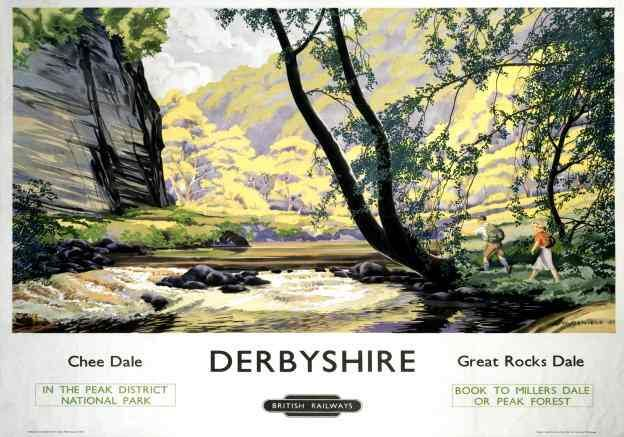 Vintage British Railways (London Midland Region) travel poster showing ramblers crossing a stream. Artwork by L W Daniels.    The poster says on it; Chee Dale, Derbyshire, Great Rocks Dale in the Peak District National Park, British Railways.  Book to Millers Dale or Peak Forest.