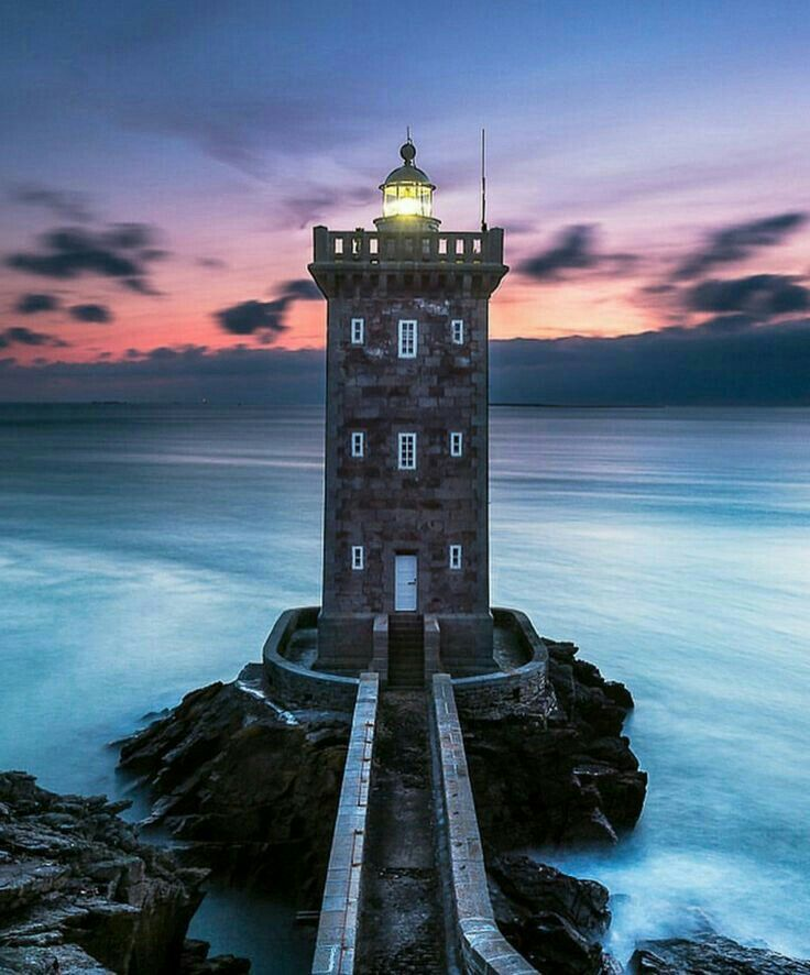 Kermorvan Lighthouse In Finistère, France. Marking The