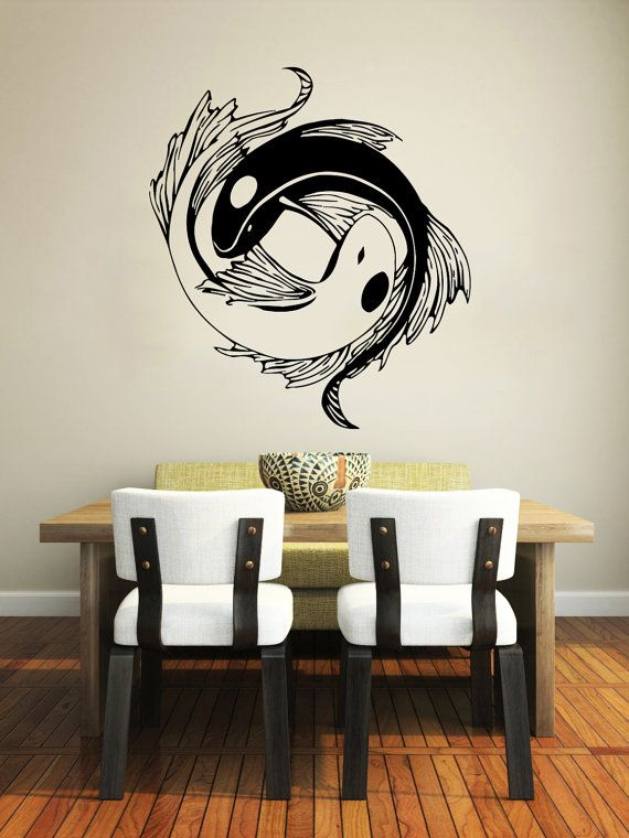 Wall decal yin yang koi fish geometric chinese asian home for Decoration murale yin yang