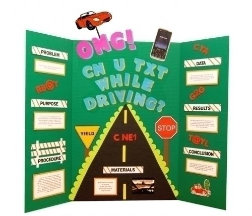 Make a Science Fair Poster | Texting while Driving | Road Safety Poster Ideas