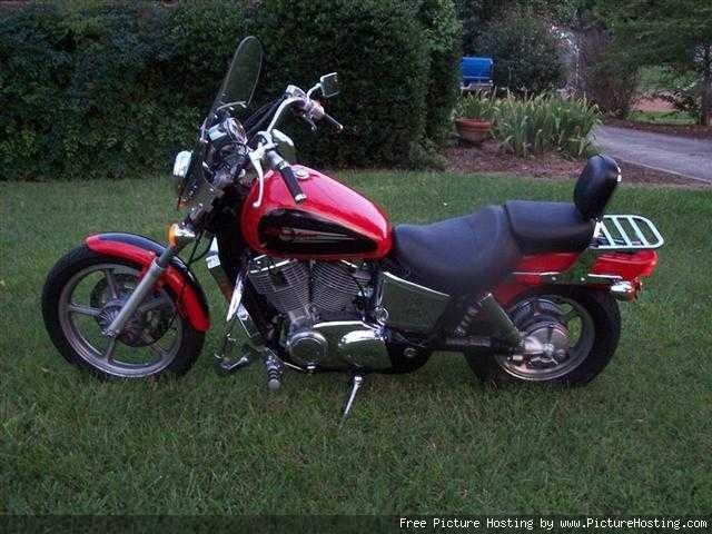"""2000 Honda Shadow VT1100 Spirit (this is like the bike we have) we call him """"Redneck"""""""