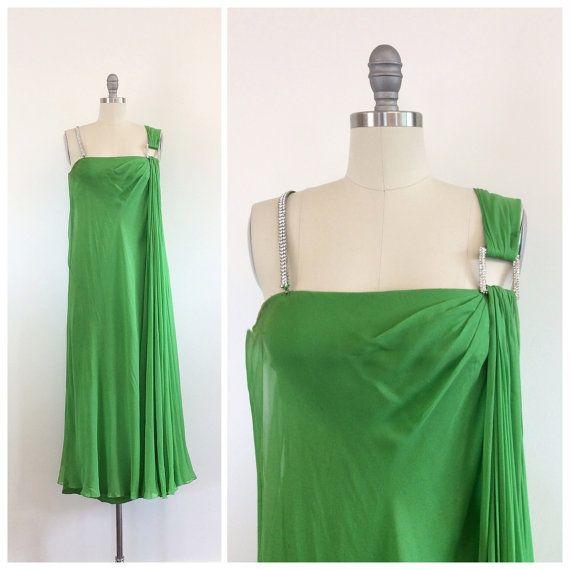 des années 60 Kelly Green Bon Marche en mousseline de soie robe de partie / longueur Midi Vintage des années 1960 de soirée robe à bretelles strass / petit / taille 2