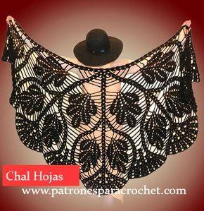 Belleza absoluta para estos tres modelos de chales tejidos al crochet, bien calados, con diseños y piñas y de hojas.