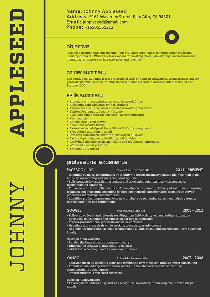 188 best GD Creative Resumes images on Pinterest Resume design - inside sales sample resume