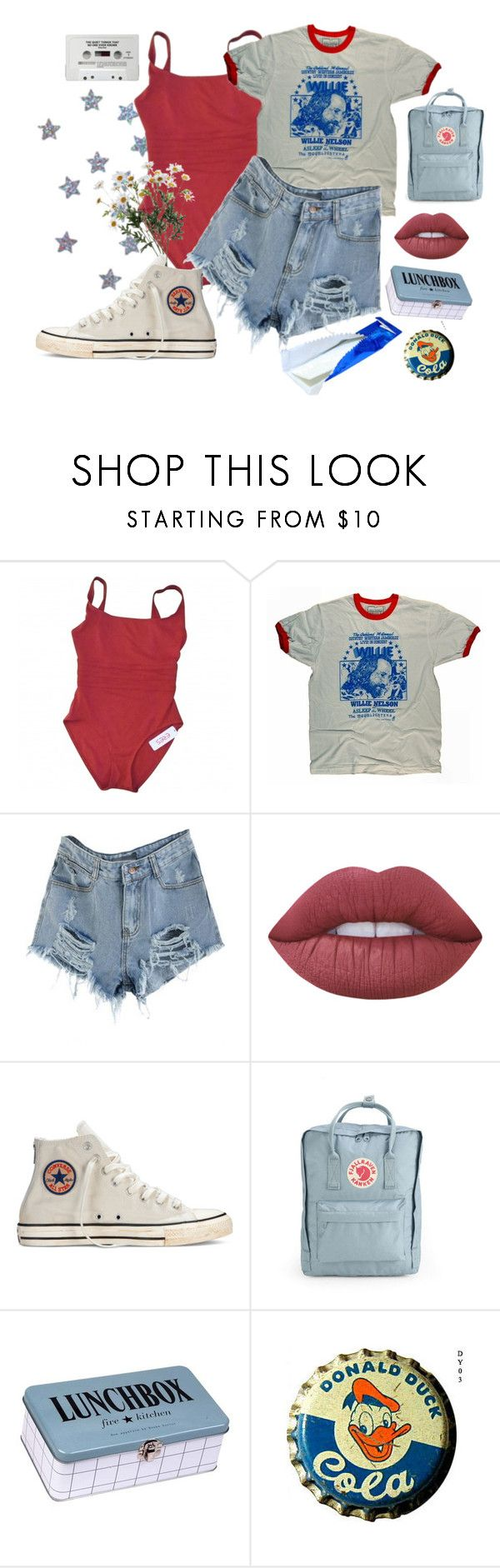 """Fourth"" by clara-joy ❤ liked on Polyvore featuring Eres, Lime Crime, Converse, Fjällräven, House Doctor, indie and USA"