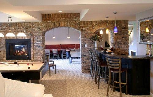 Basement idea: Dreams Basements, Games Rooms, Brick Wall, Stones Wall, Basements Design, Basements Bar, Finish Basements, Basements Ideas, Men Caves