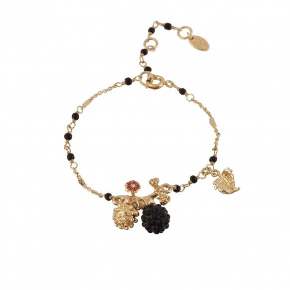 Black and golden blackberries with leaves bracelet