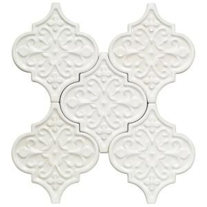 Splashback Tile Vintage Florid Lantern White 6-1/4 in. x 7-1/4 in. x 8 mm Ceramic Wall Mosaic Tile (5 Tiles Per Unit)-VINTAGEFLORIDLANLTWHT - The Home Depot