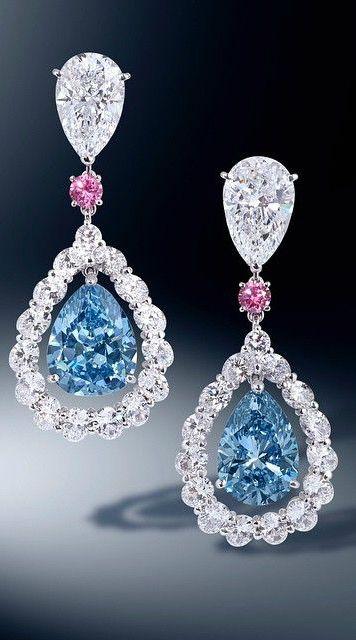 Diamond, Blue Diamond and Pink Sapphire Earrings.