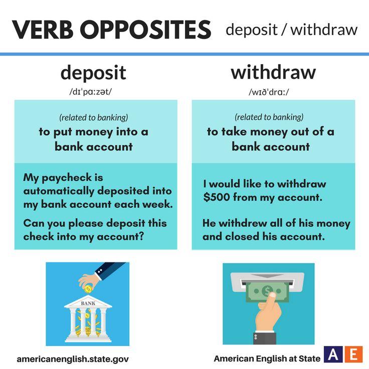 Verb Opposites: deposit / withdraw