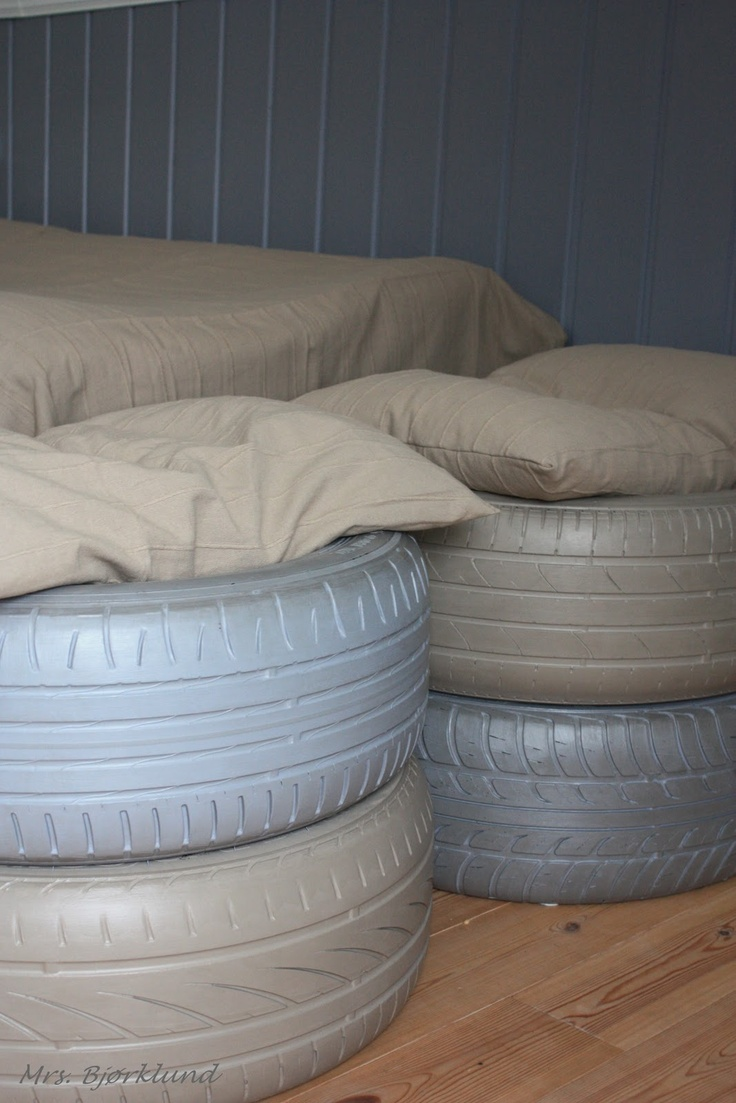 Spraypaint old tires and use them as seating in the boys room