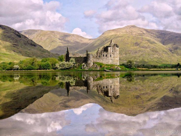 Kilchurn Castle mirror image on Loch Awe.